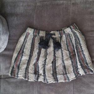 Zara black gray maroon stripe skirt